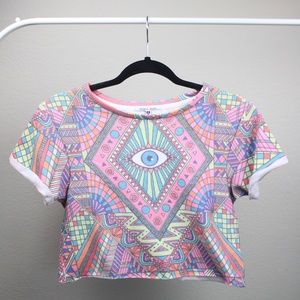 Wildfox Tops - Wildfox Multicolor Venice Third Eye Crop Tee Shirt